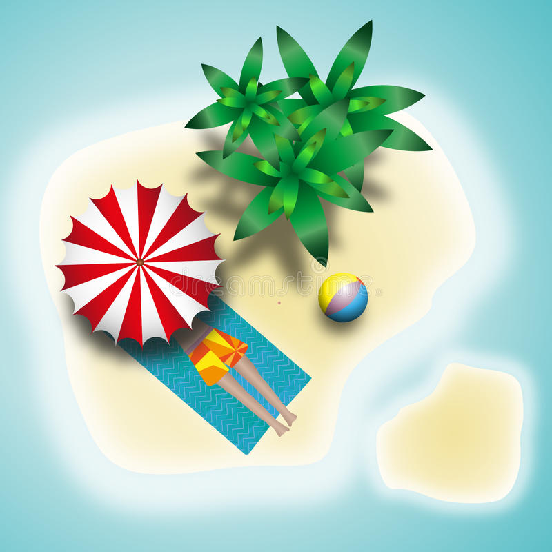 Summer island resort tanning under palm trees. Alone on the island, all inclusive vacation stock illustration
