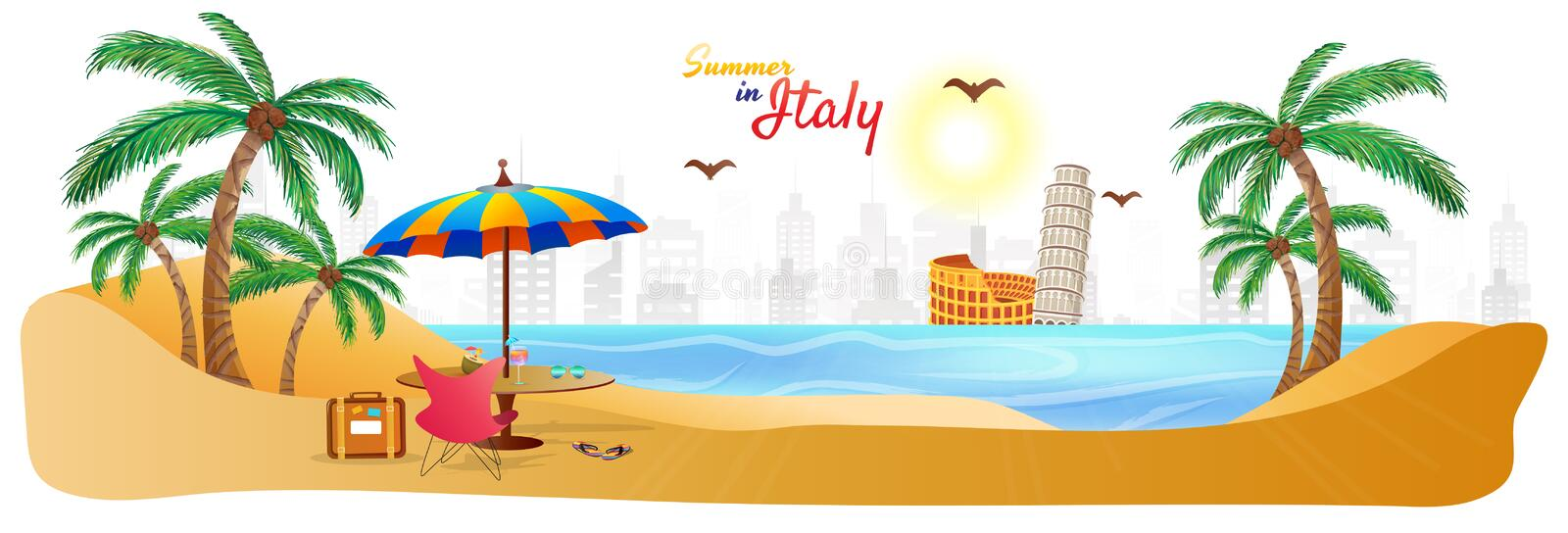 Summer in Italy web header or banner with stylish text travel ba royalty free illustration