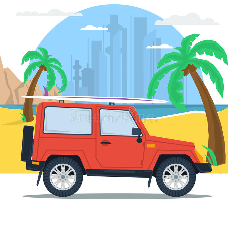 Free Summer Jeep Car On Beach With Palm Stock Images - 68971304