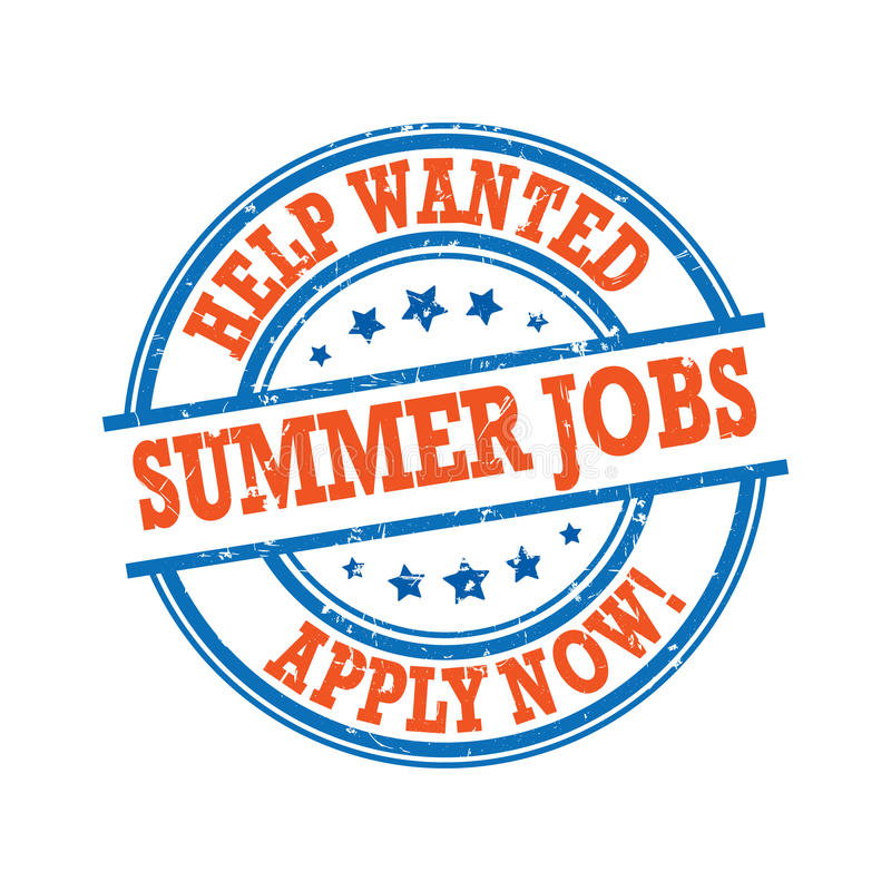 Summer jobs available. Hospitality and leisure jobs. Printable sticker / label for companies / Employers that are looking for seasonal employees. Help Wanted / vector illustration