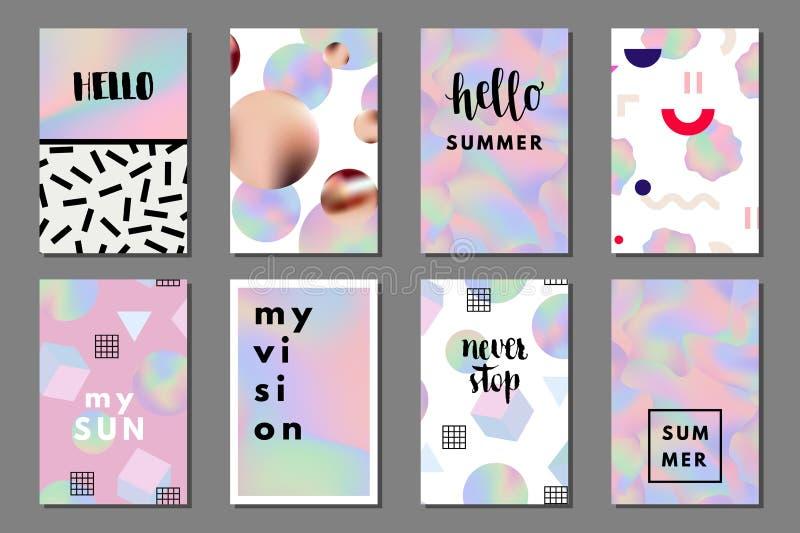 Summer journaling cards vector illustration