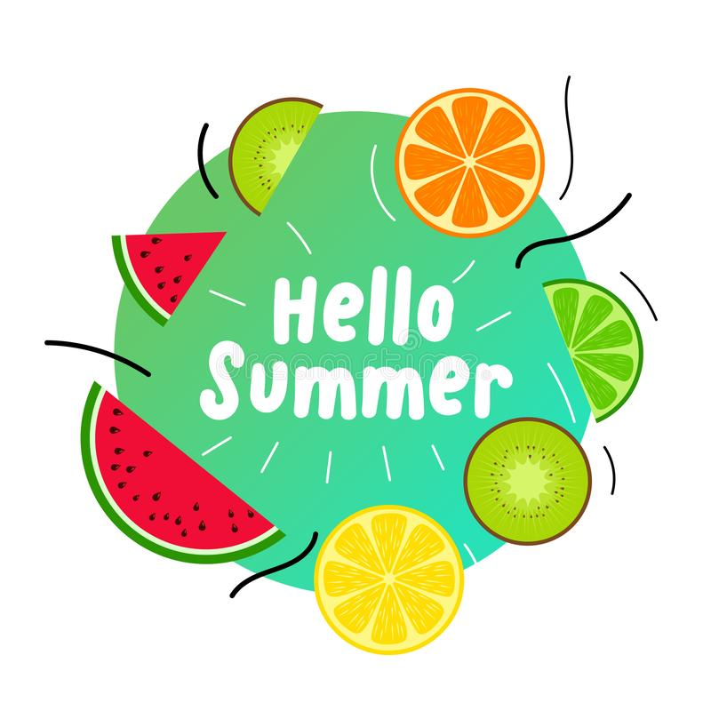 Summer juicy fruits background design vector illustration