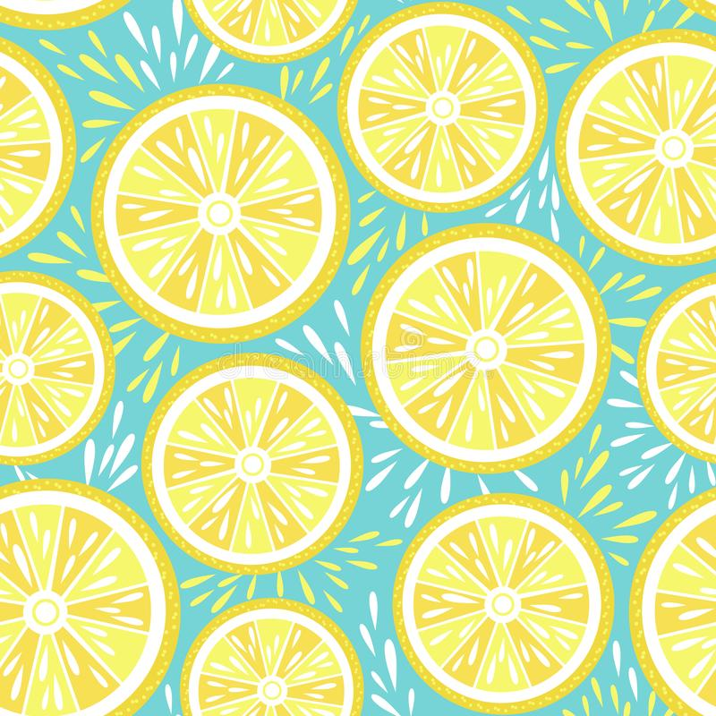Fresh lemon seamless pattern. Vector illustration. Summer juicy lemon fruit on bright turquoise background. Abstract illustration. Vector repeatable pattern stock illustration