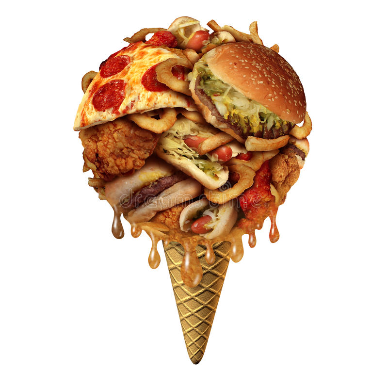 Summer Junk food Concept. As unhealthy treats as fried snacks shaped as an icecream on a cone as a health and fitnesss metaphor for bad eating habits during the royalty free illustration