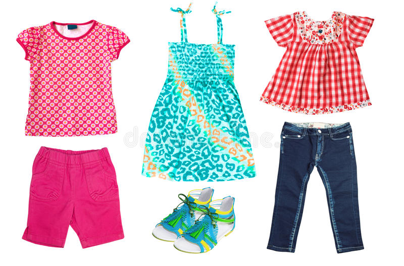 Summer kid's clothes isolated on white. Bright child girl apparel set stock images