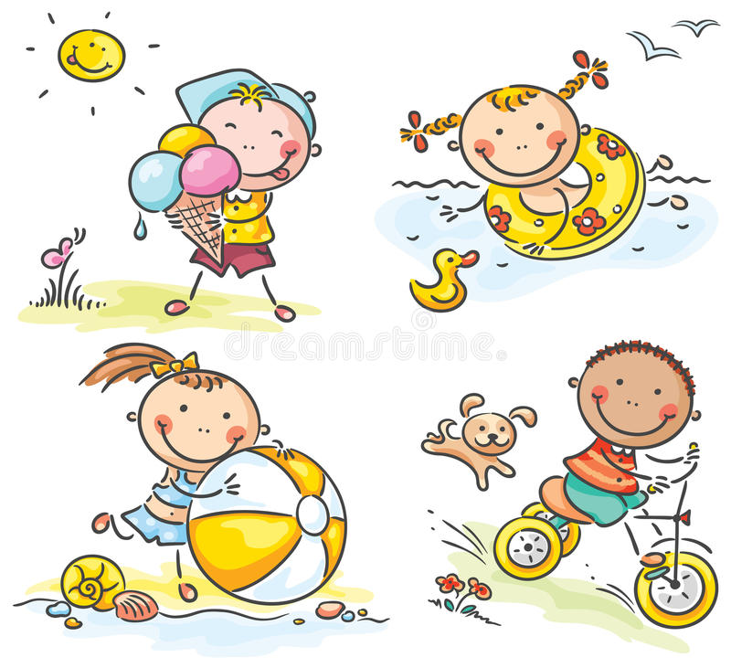 Summer kids activities outdoors royalty free illustration