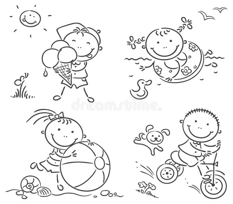 Summer kids activities outdoors stock illustration