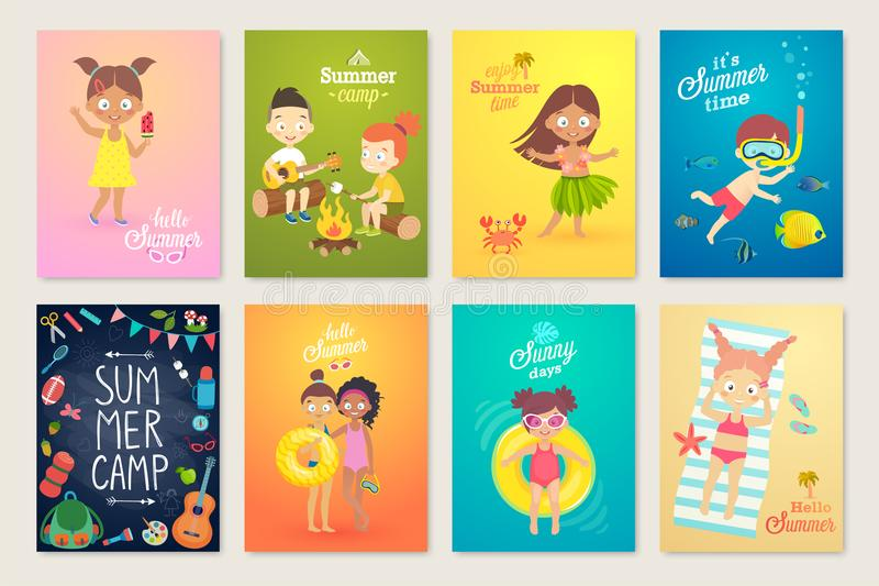 Summer Kids card set, swimming, playing on the beach, camping and having fun. Vector illustration stock illustration