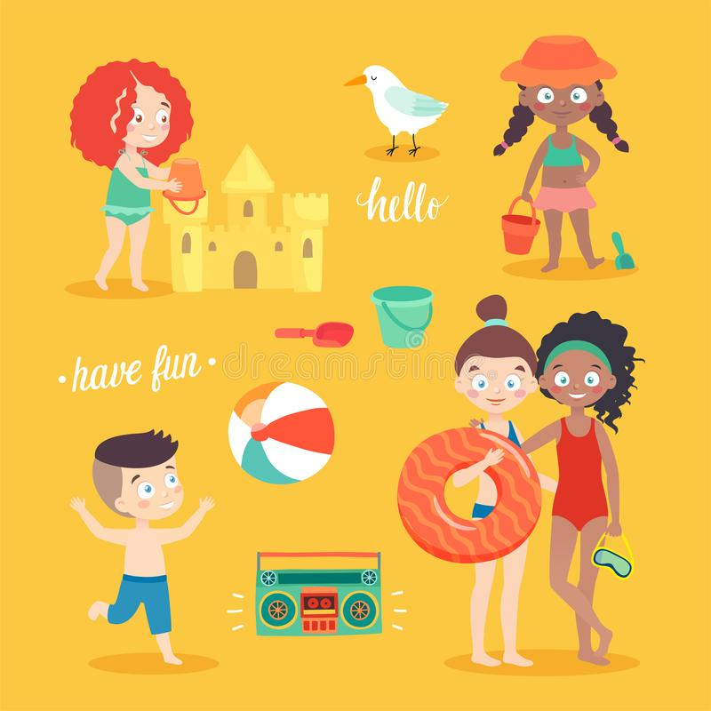 Summer Kids card set, swimming, playing on the beach, camping and having fun. Vector illustration vector illustration