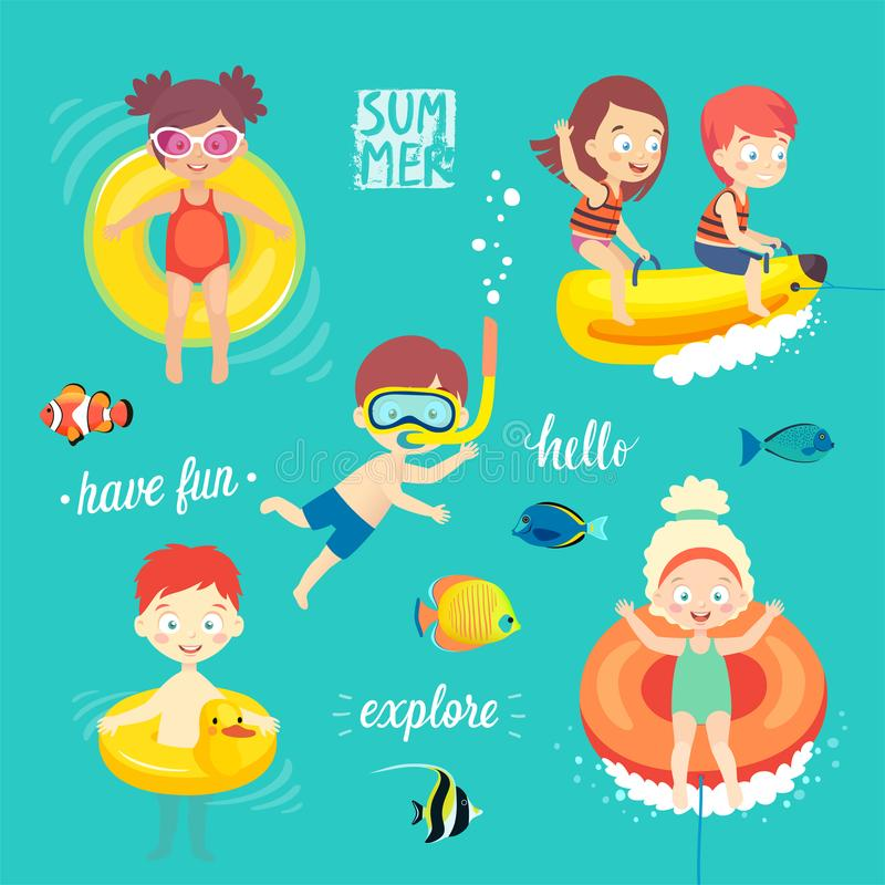 Summer Kids set, swimming, diving, playing and having fun in the water. Vector illustration stock illustration