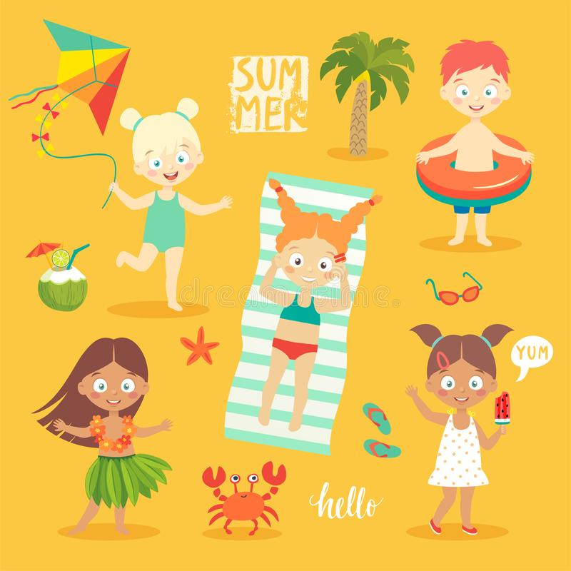 Summer Kids set, swimming, playing on the beach and having fun. Vector illustration royalty free illustration