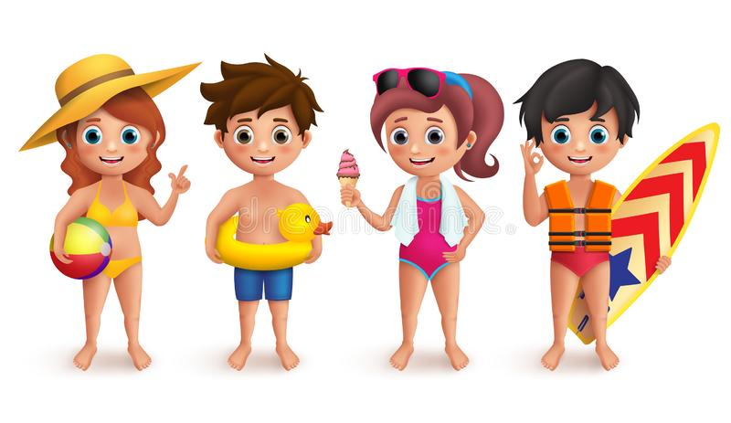 Summer kids vector characters set with boys and girls wearing swimming bikini holding beach ball. Lifebuoy, icecream and surfboard isolated in white. Vector royalty free illustration