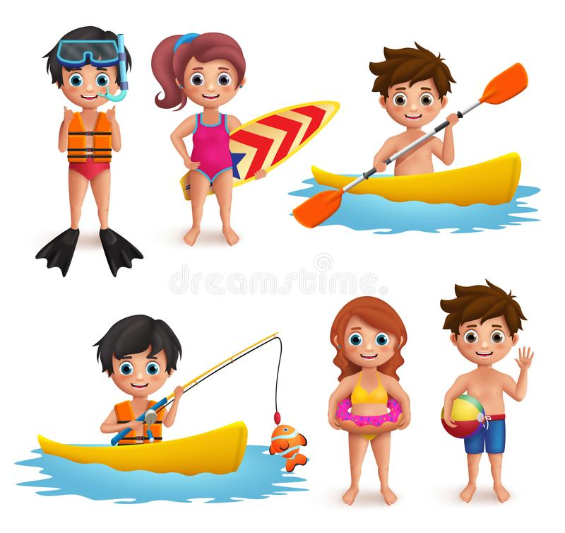 Summer kids vector characters set. Young boys and girls wearing swimming attire doing beach activities. Like snorkeling, surfing, boating and fishing isolated stock illustration