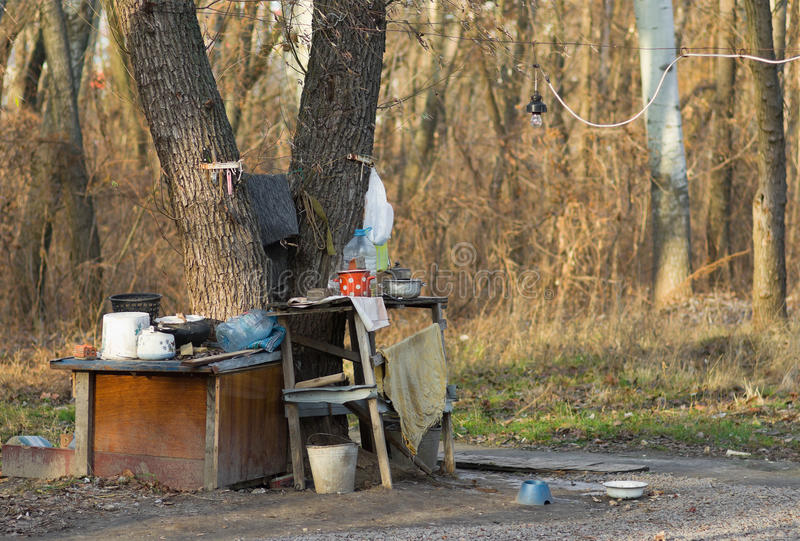 Summer kitchen of homeless stock photo