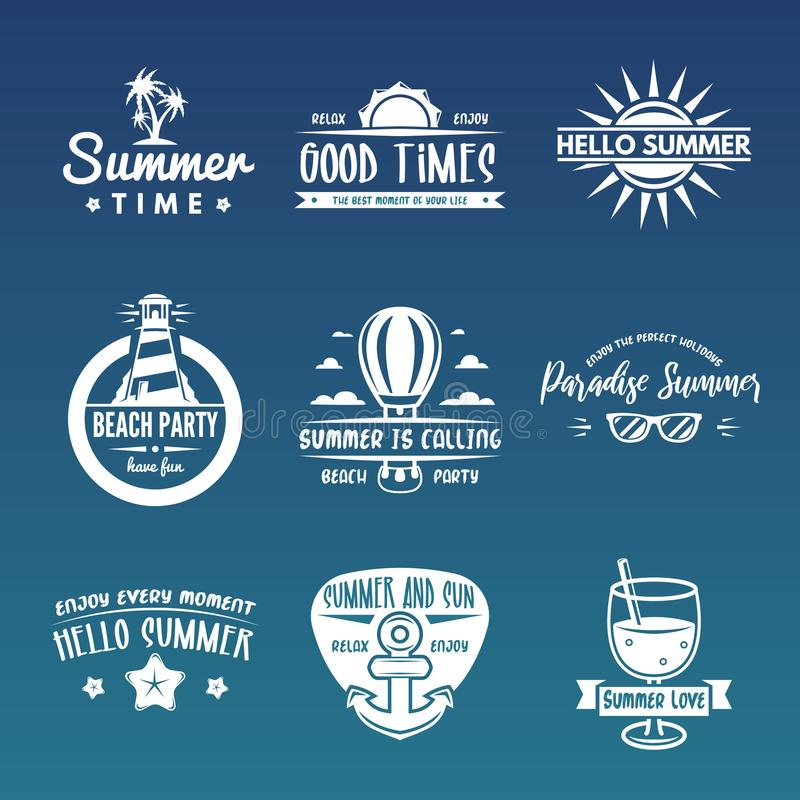 Summer labels, logos, hand drawn tags and elements set for summer holiday, travel or vacation, sun. Vector illustration. Summer labels, logos, hand drawn tags stock illustration