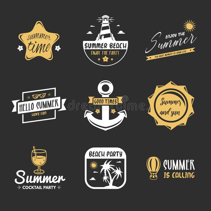 Summer labels, logos, hand drawn tags and elements set for summer holiday, travel or vacation, sun. Vector illustration. Summer labels, logos, hand drawn tags vector illustration