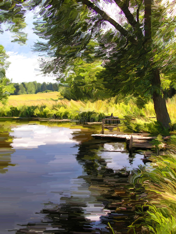 """Summer lake. """"Summer lake"""" (This artwork is not filtered photo. It is a hand drawing created in the Coral Painter royalty free stock image"""