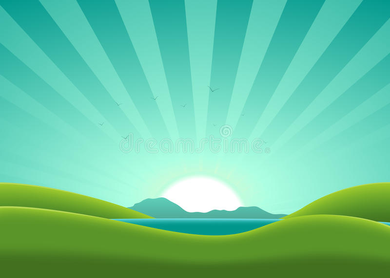 Summer Lake Background stock illustration