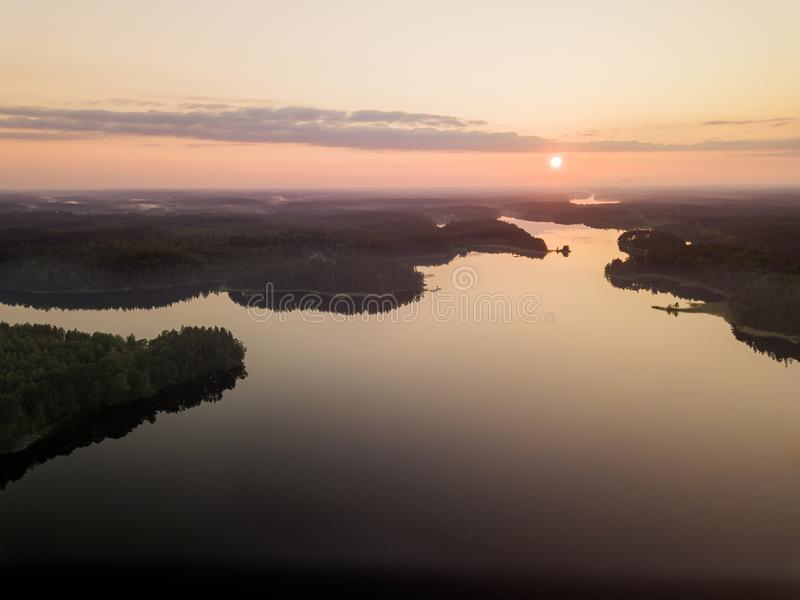 Summer lake sunset stock photos