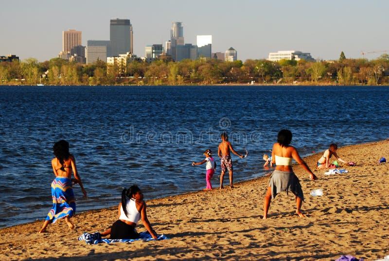 Summer at the lakeshore stock photos