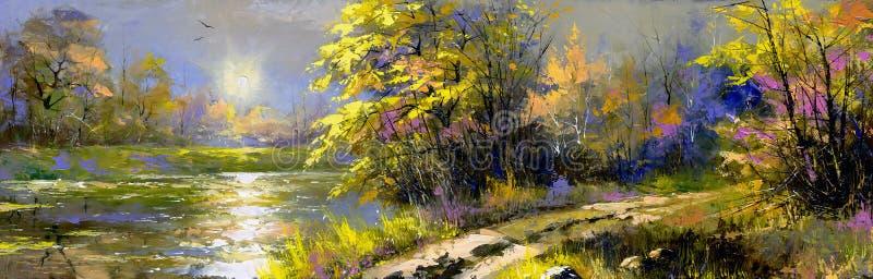Download Summer landscape stock illustration. Image of wood, paints - 11712175