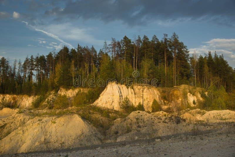 Summer landscape abandoned sand quarry stock images