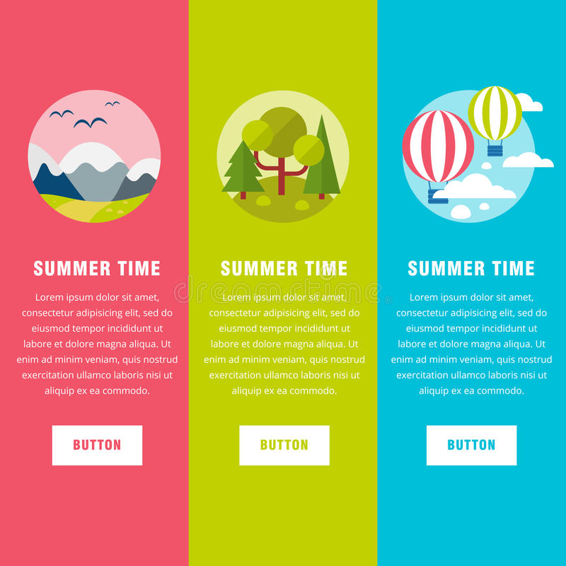 Summer landscape background banners royalty free illustration