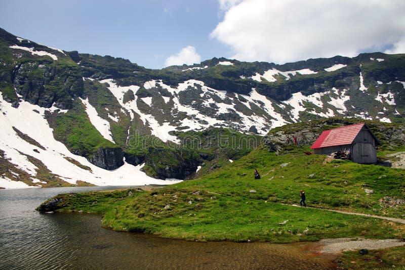 Summer landscape at Balea Lake Chalet in Fagaras Mountains, Carpathians stock photos
