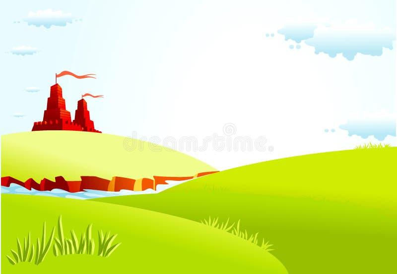Summer landscape with castle stock illustration