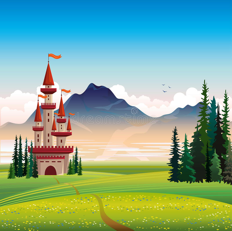 Summer landscape with castle and green field royalty free illustration