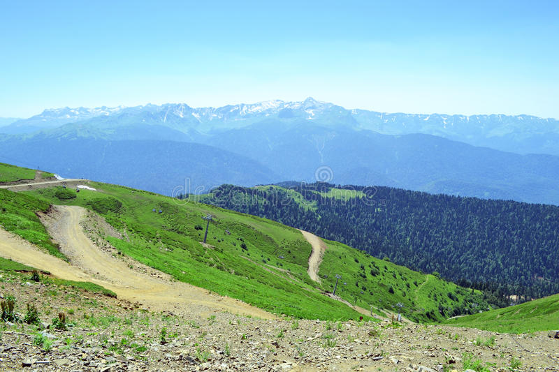 Summer landscape of Caucasian Mountains royalty free stock image