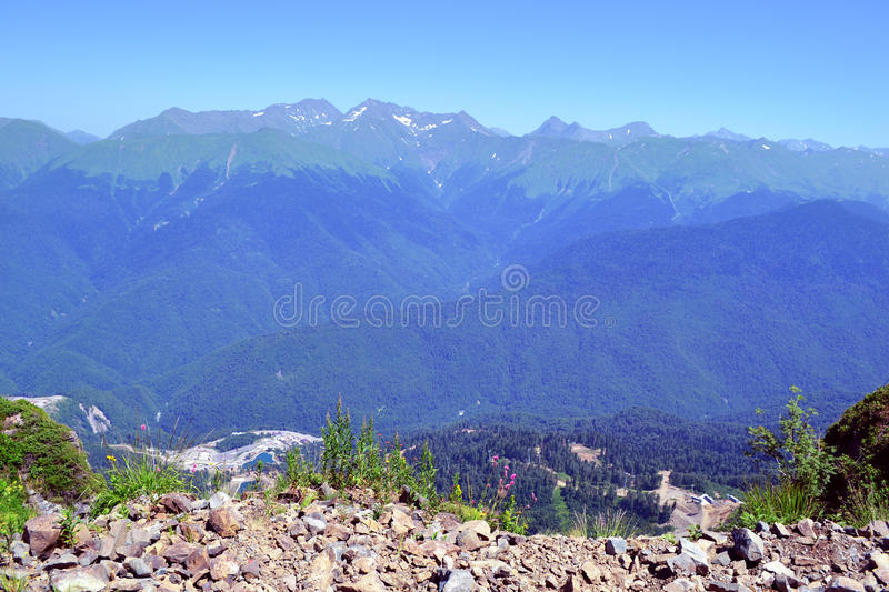 Summer landscape of Caucasian Mountains stock images