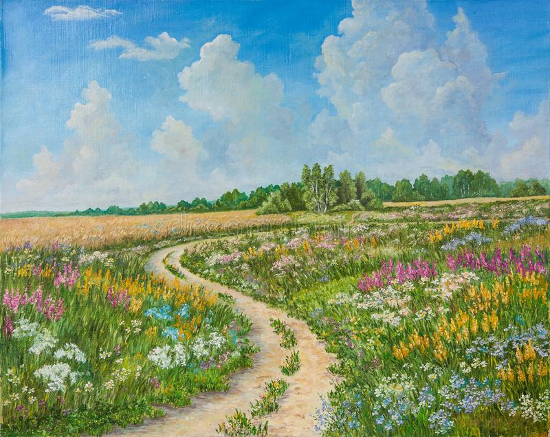 Summer landscape and country road on canvas hand drawn. Blossoming spring field. Sunny day, blue sky with light clouds royalty free stock image