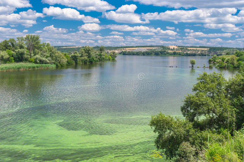 Summer landscape with Dnepr river covered with cyanobacterias. Near Dnepropetrovsk city, Ukraine stock image