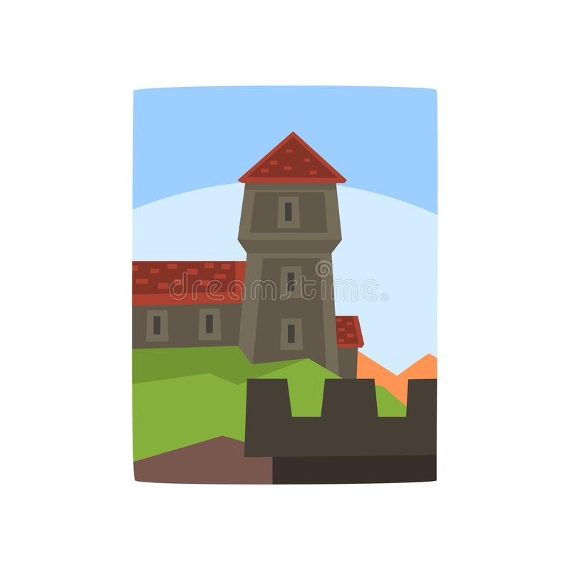 Summer landscape with fairytale kingdom. Cartoon medieval castle, blue sky behind it. Architecture building. Flat vector vector illustration
