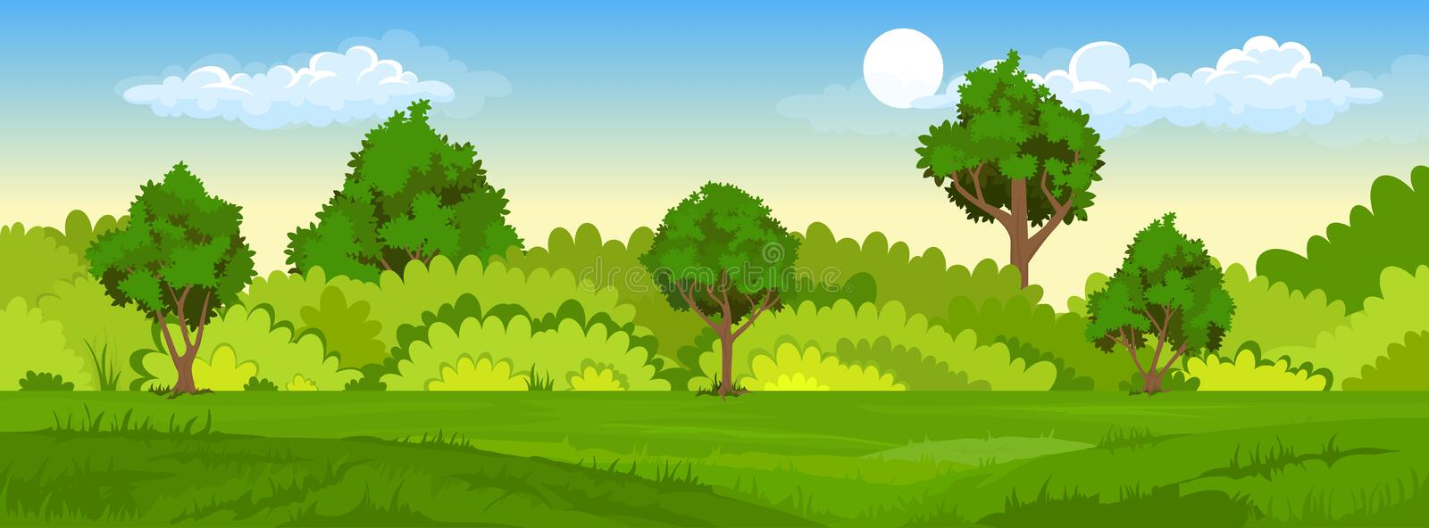 Summer landscape with fields and green hills. Cartoon illustration of summer landscape with fields and green hills royalty free illustration