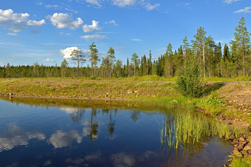 Summer landscape in Finnish Lapland. Northern Forest Lake with reflection of white clouds. In Finland stock image