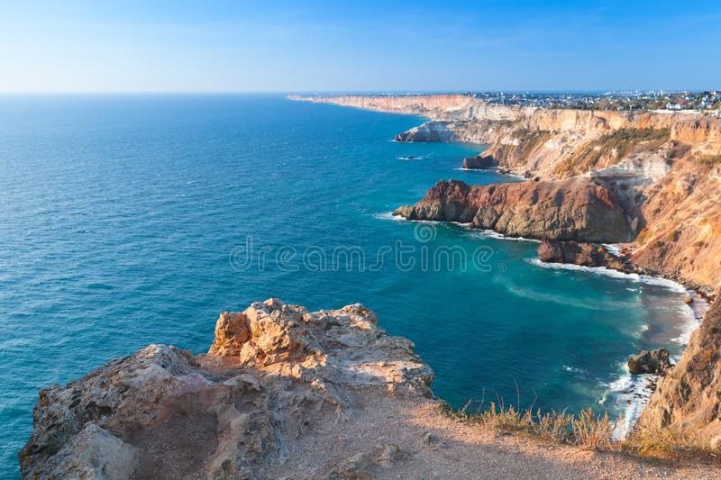 Summer landscape with Fiolent rocks. Formation on the coast of Sevastopol. Black Sea stock images