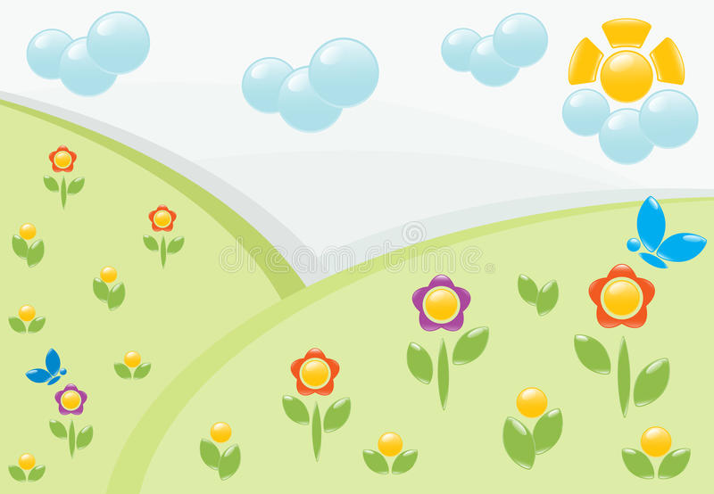 Summer landscape with flowers vector illustration