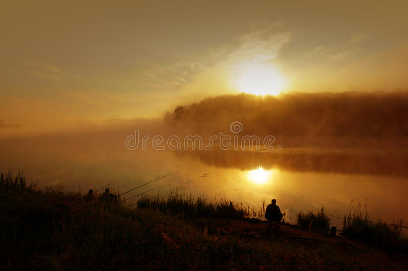 Summer landscape, fog on river royalty free stock photography
