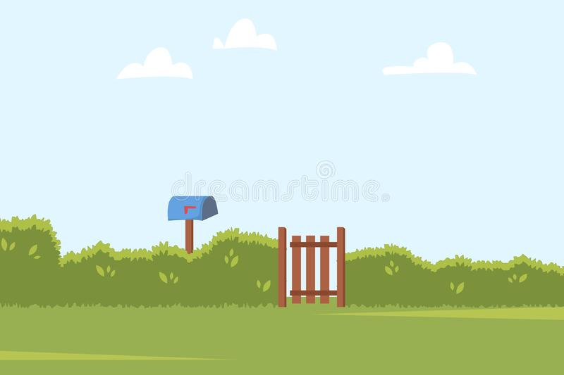 Summer landscape with green bushes fence, wooden side gate and Post box. Home backyard background. Vector illustration.  stock illustration