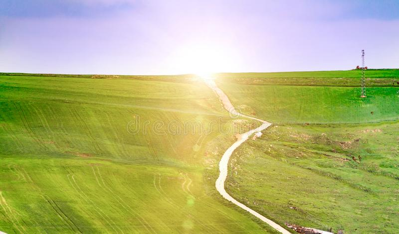 Summer landscape with green grass, roads and clouds, field dirt road in summer. Summer landscape with green grass, roads and clouds, field dirt road stock photos