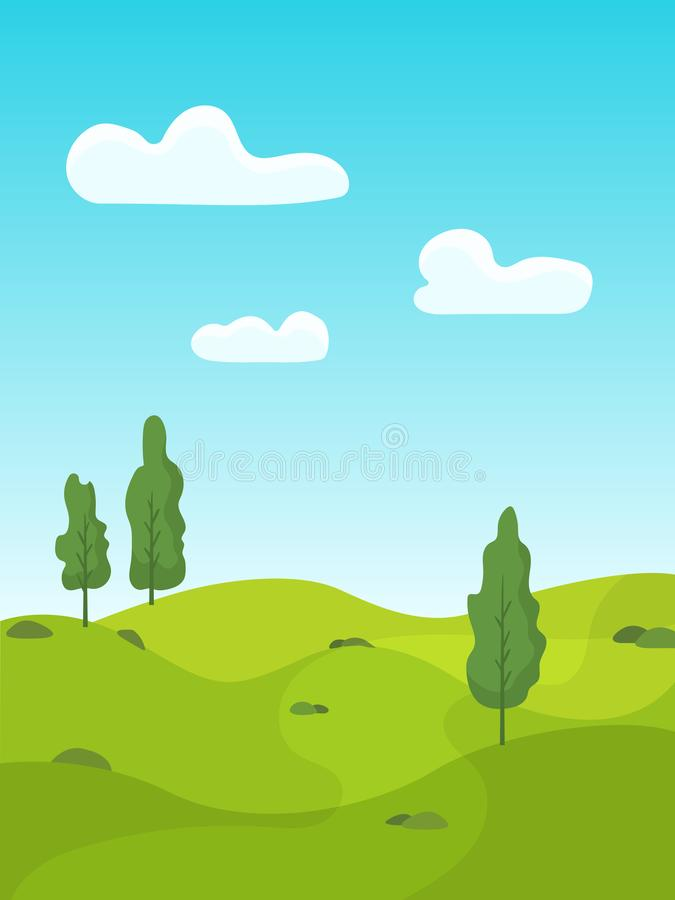 Summer landscape with green meadows and trees. royalty free illustration