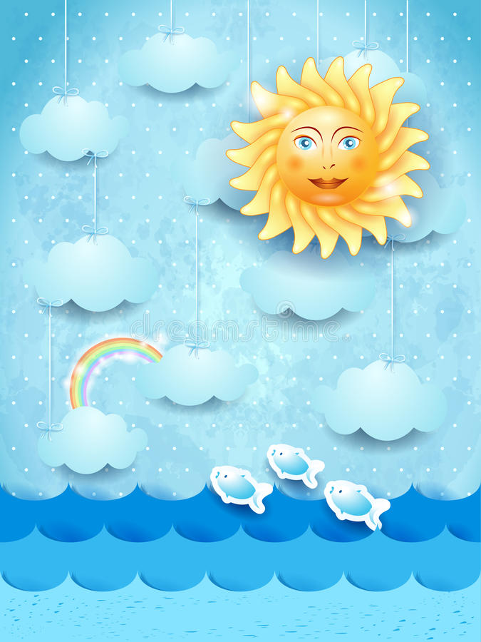 Summer landscape with hanging clouds and happy sun stock illustration