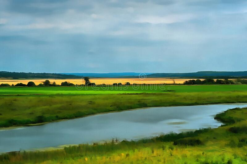 Summer landscape. High river bank. Sunny summer day royalty free stock photos