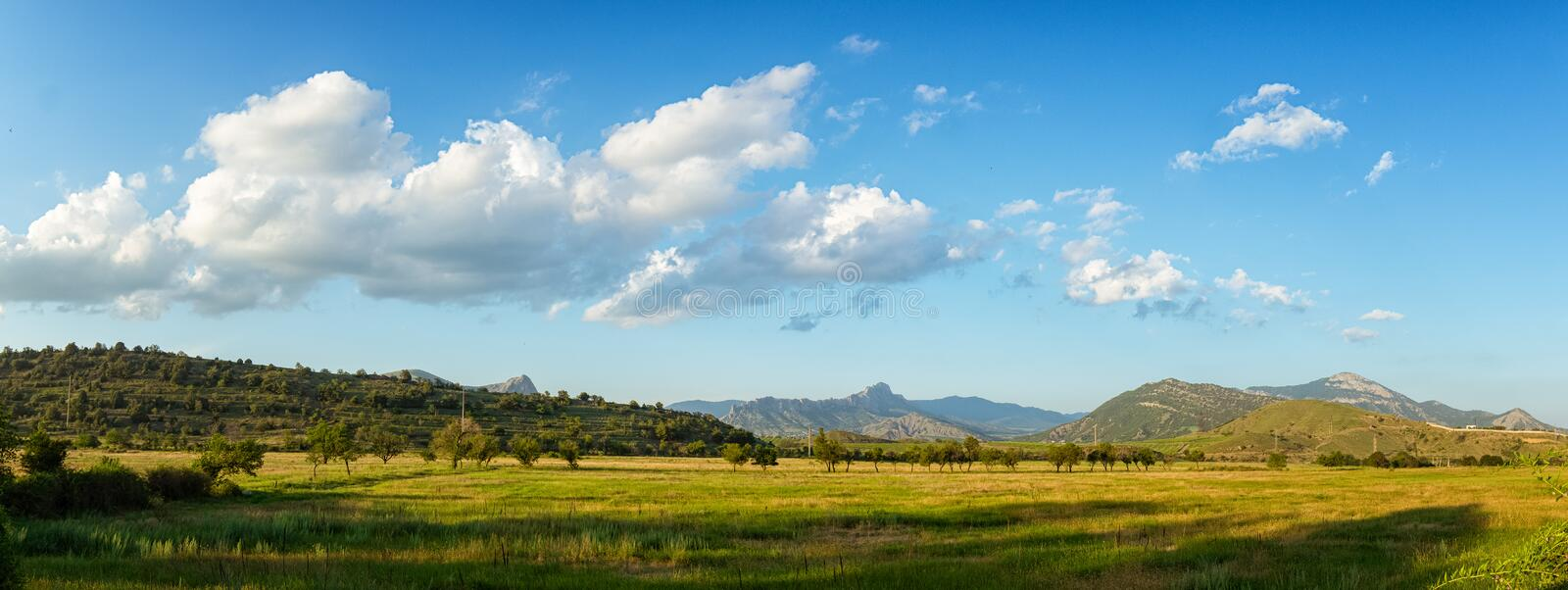 Summer landscape with hills and clouds, Crimea royalty free stock image