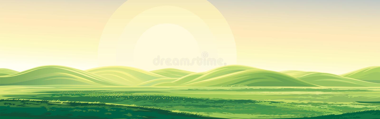 Summer landscape with hills. vector illustration