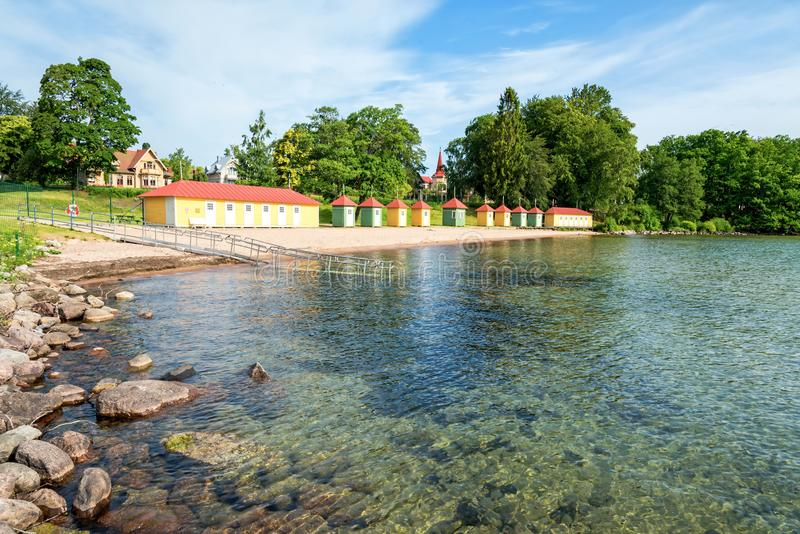 Summer landscape with lake beach stock photos