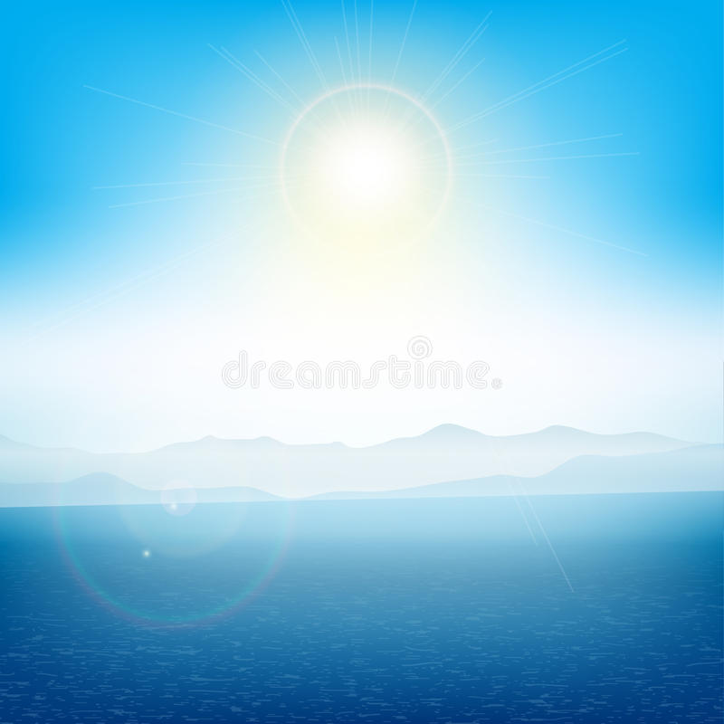 Summer landscape. With islands in the distant with the ocean royalty free illustration