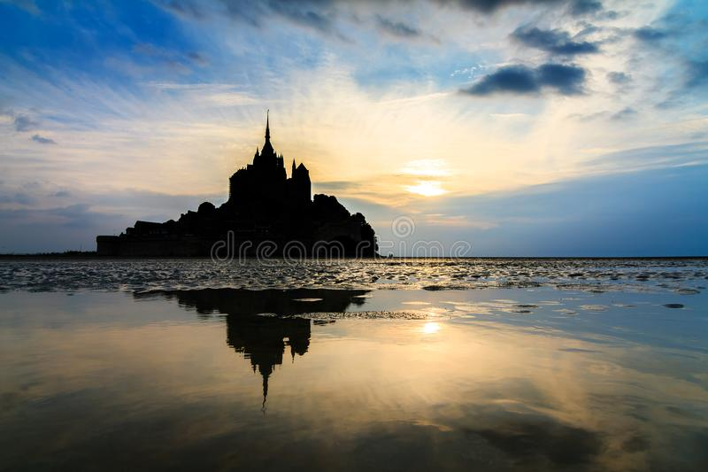 Summer landscape at Le Mont Saint-Michel royalty free stock photo